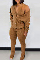 Brown Casual Solid Split Joint Buckle Slit V Neck Long Sleeve Two Pieces