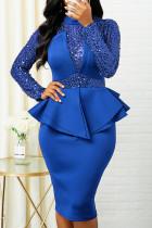 Blue Sexy Solid Split Joint Flounce Asymmetrical  Sequins Half A Turtleneck One Step Skirt Dresses