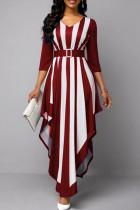 Red Casual Striped Print Split Joint Asymmetrical V Neck Long Sleeve Dresses