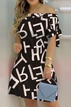 Black White Fashion Casual Print Bandage Off the Shoulder Short Sleeve Dress Dresses