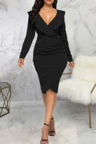 Black Casual Solid Split Joint Flounce Asymmetrical V Neck One Step Skirt Dresses