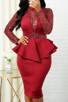 Red Sexy Solid Split Joint Flounce Asymmetrical  Sequins Half A Turtleneck One Step Skirt Dresses