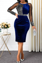 Blue Sexy Solid Split Joint See-through O Neck One Step Skirt Dresses