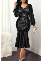 Black Sexy Solid Split Joint Flounce V Neck Long Sleeve Dresses
