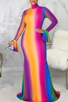 Multicolor Casual Elegant Print Split Joint Turtleneck Long Sleeve Dresses