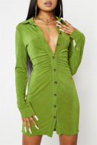 Green Fashion Casual Solid Buckle V Neck Long Sleeve Dresses