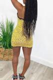 Yellow Polyester Fashion Sexy Black Yellow Spaghetti Strap Sleeveless Slip Step Skirt skirt Leopard Dresses