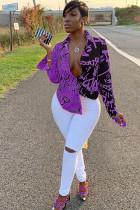 purple Polyester Turndown Collar Long Sleeve Print