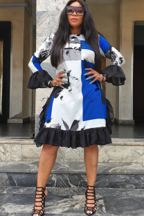 Blue Polyester Sexy Ruffled Sleeve Long Sleeves O neck A leaf skirt Knee-Length ruffle Patchwork Print