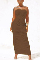 Brown Fashion Solid Fold Strapless Step Skirt Dresses