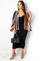 Multi-color cardigan contrast color Print Striped Polyester Print Long Sleeve  cloak