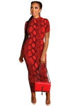 Red Polyester OL Fashion adult Cap Sleeve Short Sleeves Half-Open collar Step Skirt Ankle-Length chain P