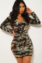 Green Polyester Sexy Cap Sleeve Long Sleeves V Neck Step Skirt skirt chain camouflage