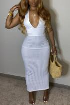 White Fashion OL Solid backless V Neck Step Skirt Dresses