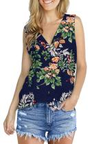 Green Polyester V Neck Sleeveless asymmetrical Print Button Floral  Sweaters & Cardigans