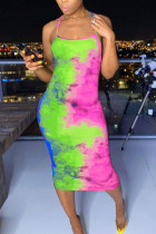 Green Polyester Fashion Sexy Green multicolor Off The Shoulder Sleeveless Slip Pencil Dress Mid-Calf backless Tie and dye Dresses