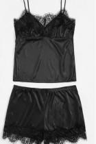 Black adult Sexy Fashion Slip Sleeveless Bra & Bikini Sets