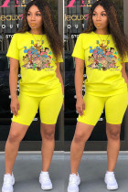 Yellow Polyester Fashion Casual adult Patchwork Print Character Two Piece Suits Straight Short Sleeve Two Pieces