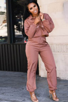 Deep pink Polyester Casual Two Piece Suits contrast color Solid Straight Long Sleeve  Two-piece Pants Set