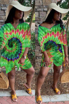 Green Polyester Fashion Casual adult Ma'am Patchwork Print Two Piece Suits Loose Short Sleeve Two Pieces