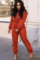 Orange Polyester Casual Two Piece Suits contrast color Solid Straight Long Sleeve  Two-piece Pants Set