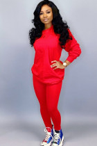Red venetian Street Two Piece Suits Solid Patchwork pencil Long Sleeve  Two-piece Pants Set