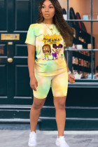 Yellow venetian Fashion Casual adult Ma'am Patchwork Print Character Tie Dye Two Piece Suits pencil Short Sleeve Two Pieces