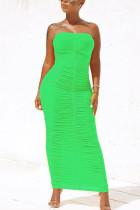 Light Green Fashion Solid Fold Strapless Step Skirt Dresses