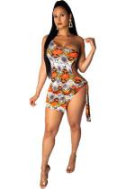 Orange Polyester Fashion Sexy One Shoulder Sleeveless one shoulder collar Asymmetrical skirt Patchwork holl