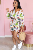 White Polyester Fashion Sexy adult Ma'am Print asymmetrical Zippered Two Piece Suits pencil Long Sleeve Two Pieces