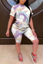 purple Polyester Fashion Casual adult Ma'am Patchwork Print Tie Dye Gradient Two Piece Suits pencil Short Sleeve Two Pieces