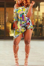multicolor Cotton Fashion Sexy One Shoulder Half Sleeves one shoulder collar Step Skirt Knee-Length Print Dresses