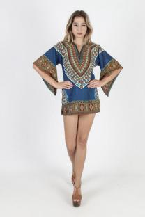 Blue Polyester Fashion adult Sexy Bat sleeve Half Sleeves O neck Swagger Mini Patchwork Print