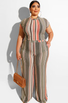 Apricot Polyester Sexy O Neck Print Striped Two Piece Suits Stripe