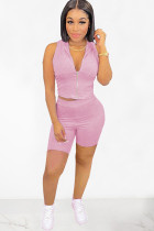 Light Purple Polyester Fashion Sexy adult Ma'am Patchwork Solid Zippered Two Piece Suits pencil Sleeveless Two Pieces