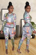 multicolor Polyester Sweet Fashion adult Two Piece Suits Print contrast color asymmetrical Patchwork pencil Lon