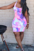 Pink Chlorine Fashion Sexy Pink Orange purple Sky Blue Tank Sleeveless O neck Pencil Dress Knee-Length Print Dresses