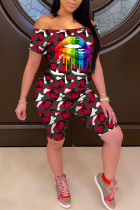 Red Polyester Fashion Casual adult Ma'am Print Camouflage Two Piece Suits pencil Short Sleeve Two Pieces