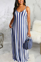 Blue Polyester Fashion Sexy Black Blue Pink Spaghetti Strap Sleeveless V Neck Swagger Floor-Length Striped Dresses