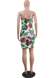Multi-color Fashion Sexy Off The Shoulder Sleeveless Wrapped chest Hip skirt Mini Print