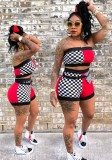 Red Plaid Mid Waist Elastic Waist Two-piece suit