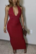 Wine Red Fashion OL Solid backless V Neck Step Skirt Dresses