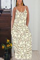 Yellow Cotton Fashion Casual Grey Green Yellow Spaghetti Strap Sleeveless Slip Swagger Floor-Length Print Dresses