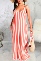 Pink Polyester Fashion Sexy Black Blue Pink Spaghetti Strap Sleeveless V Neck Swagger Floor-Length Striped Dresses