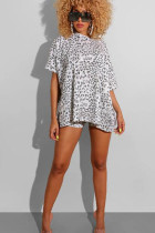 White Polyester Fashion Casual adult Ma'am Leopard Patchwork Print Two Piece Suits pencil Short Sleeve Two Pieces
