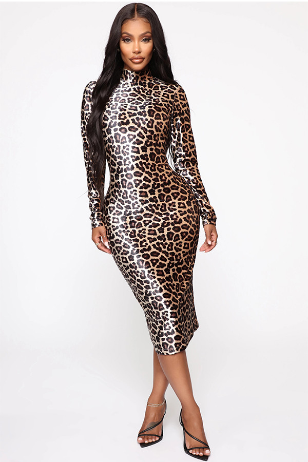 Leopard print Polyester Fashion adult Sexy Cap Sleeve Long Sleeves Turtleneck Step Skirt Mid-Calf Patchwork Print