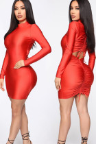 Red Polyester Sexy Cap Sleeve Long Sleeves O neck Hip skirt skirt Solid  Long Sleeve Dresses