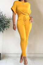 Yellow Polyester Fashion Casual Patchwork Solid Two Piece Suits pencil Short Sleeve Two Pieces