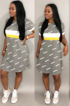 Grey Polyester Sexy Fashion adult Cap Sleeve Short Sleeves O neck Swagger Knee-Length Patchwork Print Cha