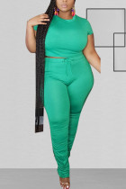 Green Polyester Fashion Sexy O Neck Solid Two Piece Suits Stitching Plus Size